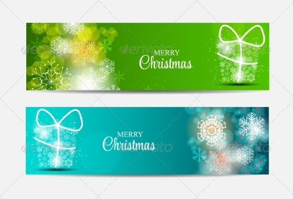 Christmas Snowflakes Website Header and Banner Set - Christmas Seasons/Holidays