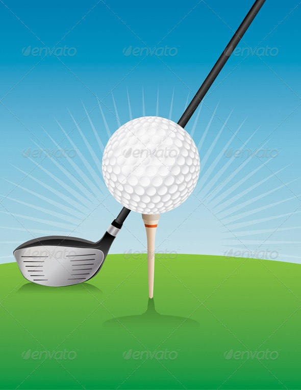Vector Golf Ball and Driver Illustration - Sports/Activity Conceptual