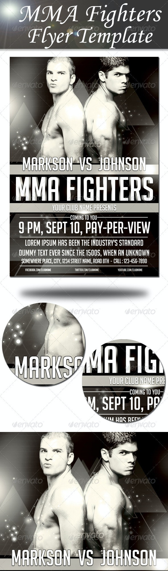 MMA Fighters Flyer Template - Sports Events