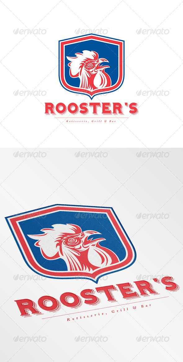 Rooster's Grill and Bar Logo - Animals Logo Templates