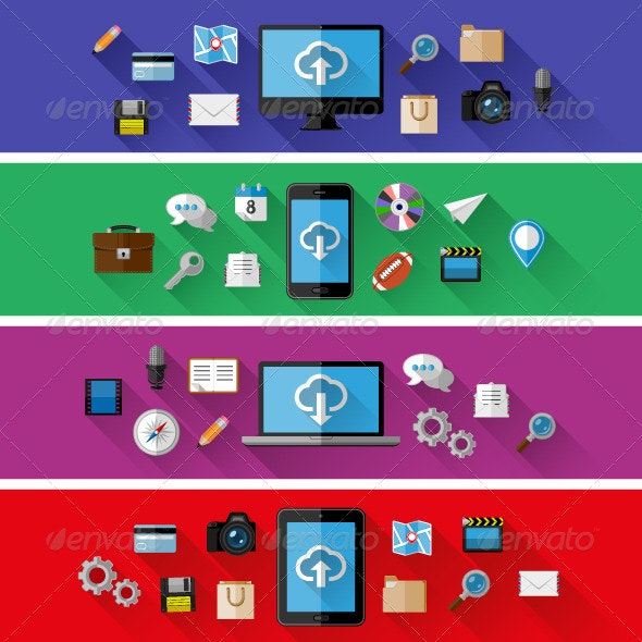 Set of Web and Business Concepts in Flat Design - Web Technology