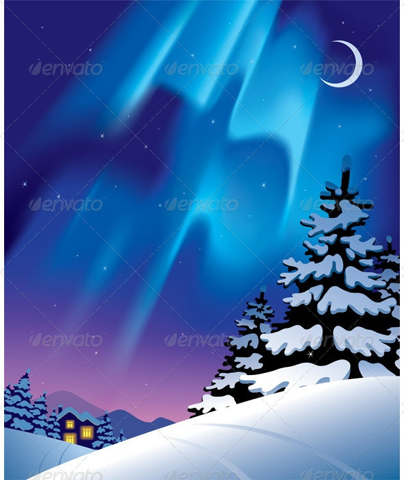 Winter Landscape with the Northern Lights - Landscapes Nature