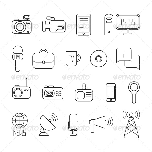 Set of Vector Journalism Icons - Web Technology