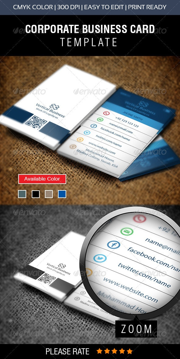 Vertical Phone Business Card - Business Cards Print Templates