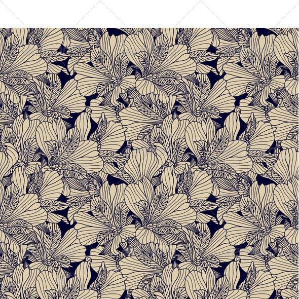 Seamless Dark Ink Alstroemeria Pattern