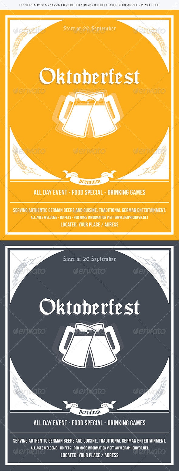 Oktoberfest Flyer / Event Template - Holidays Events