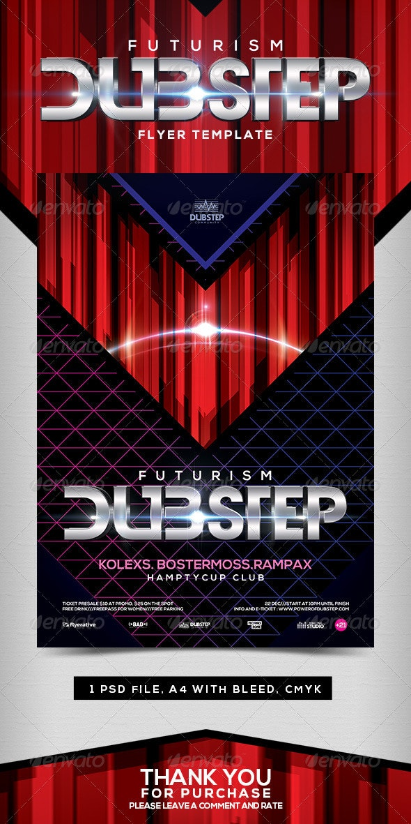 Futurism Dubstep Flyer Template - Clubs & Parties Events