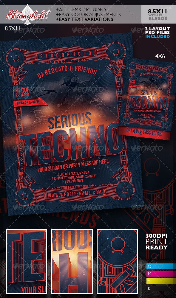 Serious Techno Nightclub Event Flyer Template - Clubs & Parties Events