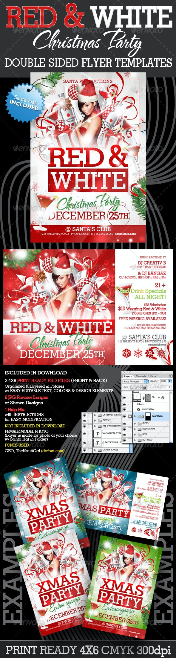 Red and White Christmas Party Flyer Templates - Clubs & Parties Events