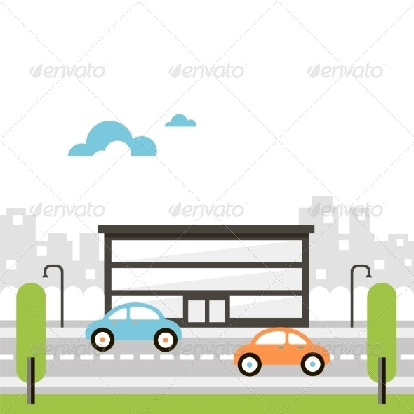Illustration of Street with Office Building - Buildings Objects