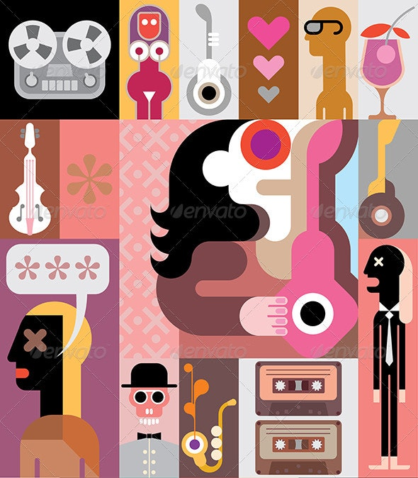 Music Pop Art Collage Vector Illustration - People Characters