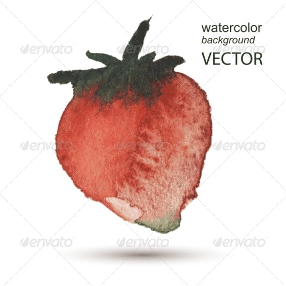 Strawberry Watercolor Hand Painted Background