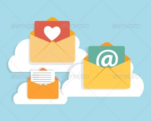 Flat Design Concept Email  Icon Vector Illustration - Web Technology
