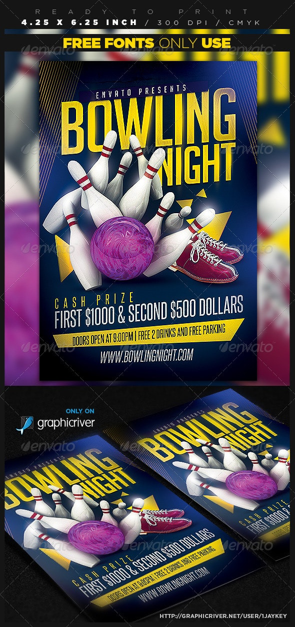 Bowling Party Flyer Template - Sports Events