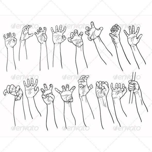 Set of Hands in many Gestures - Halloween Seasons/Holidays