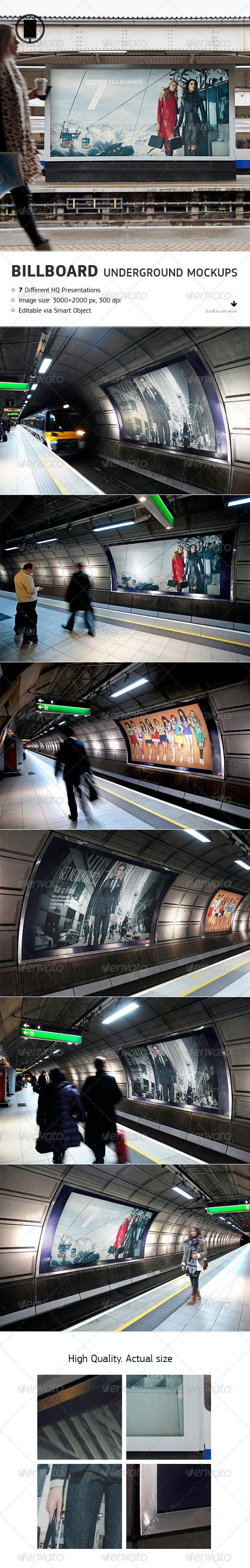 Billboard - Underground, Metro, Subway Mock-Up - Miscellaneous Print
