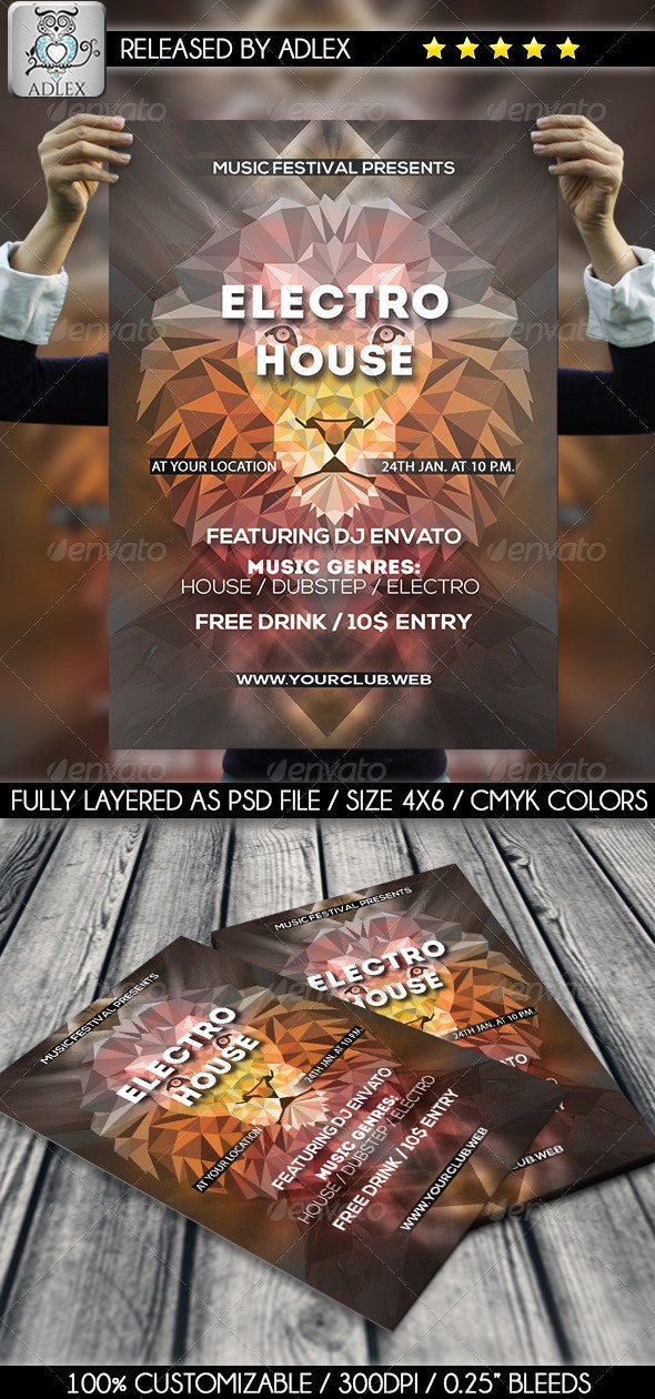Minimalistic Lion Flyer - Clubs & Parties Events