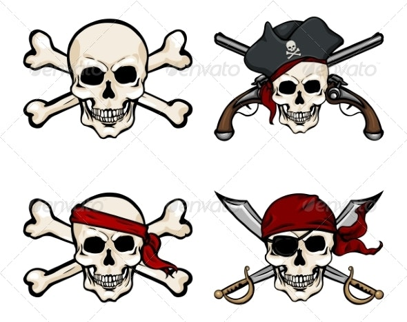 Vector Set of Different Cartoon Pirate Skulls - Halloween Seasons/Holidays