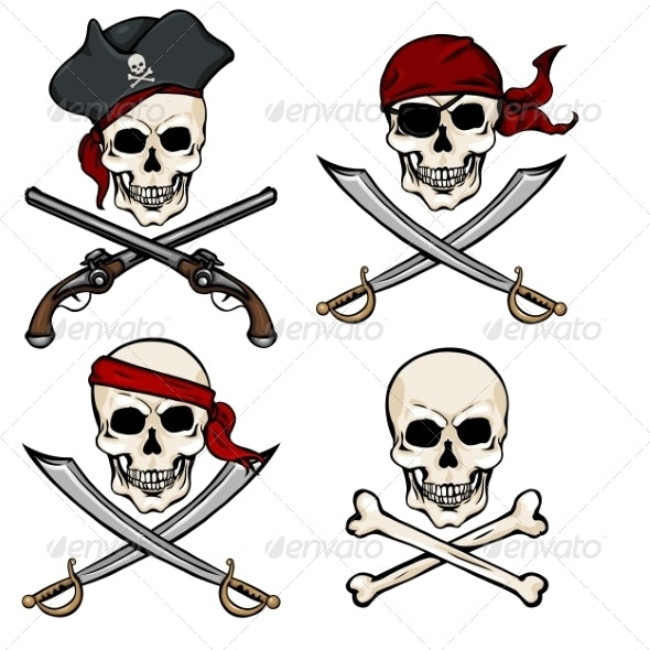 Vector Set of Different Cartoon Pirate Skulls - Halloween Seasons/Holidays