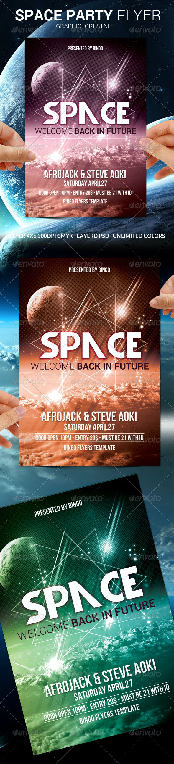 Space Party Flyer Template - Clubs & Parties Events