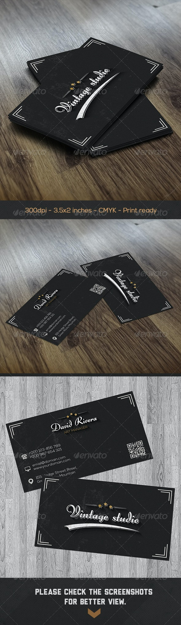 Black Vintage Creative Studio Business Card - Business Cards Print Templates