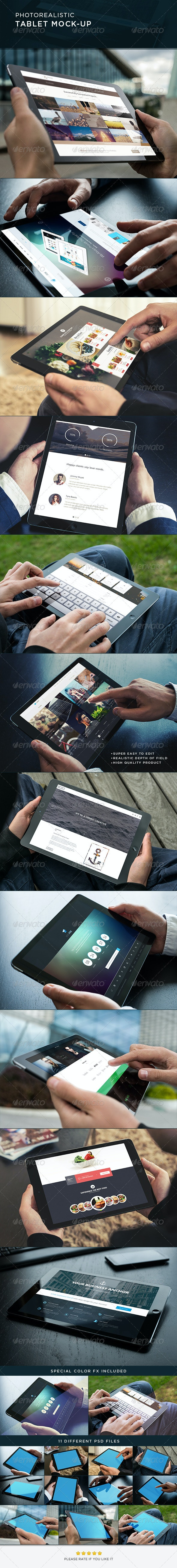 Photorealistic Tablet Mock-Up - Mobile Displays
