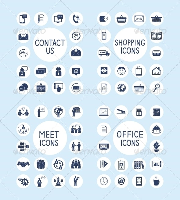 Internet Business Office and Shopping Icons Set - Business Icons
