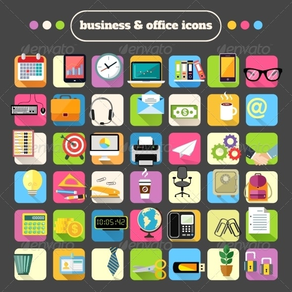 Business Stationery Supplies Icons Set - Business Icons