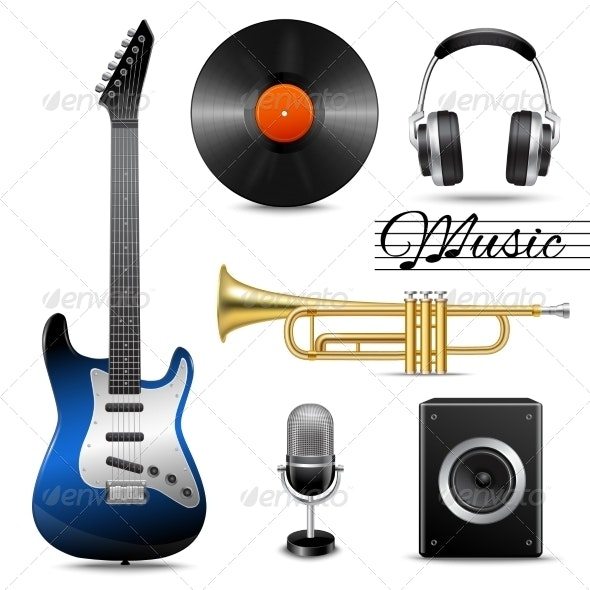 Realistic Music Icons Set - Man-made Objects Objects