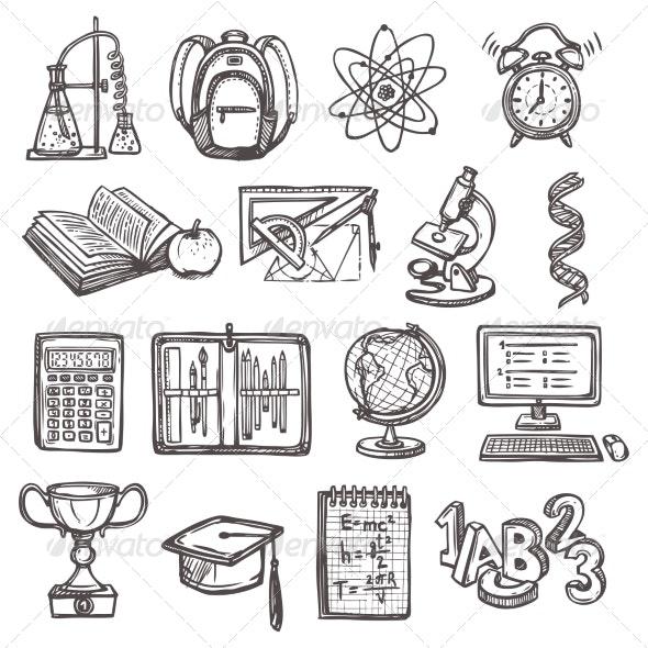 School Education Sketch Icons - Web Elements Vectors