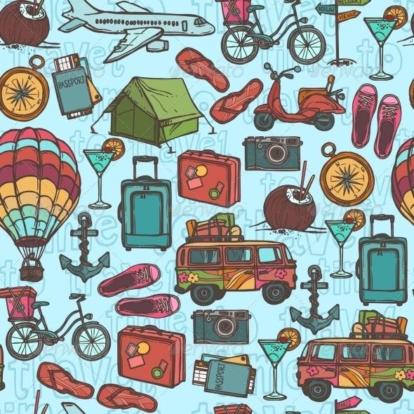 Travel Sketch Seamless Pattern - Backgrounds Decorative