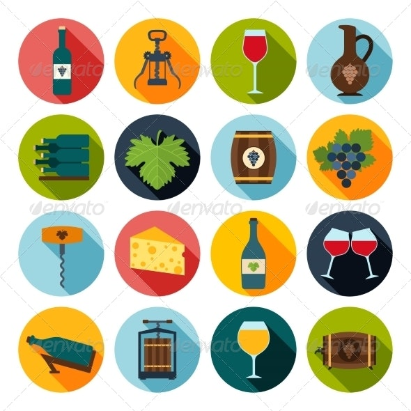 Wine Icons Set - Food Objects