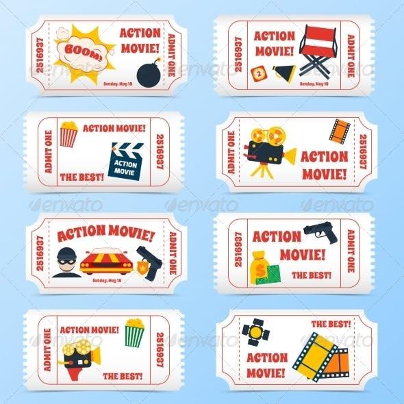 Action Movie Tickets Set