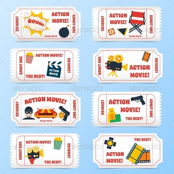 Action Movie Tickets Set - Miscellaneous Vectors