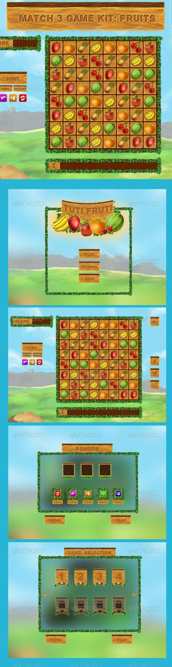 Match 3 Game Kit: Fruits