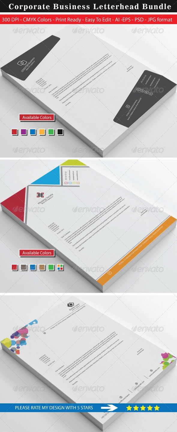 Clean Stylish High Rated Letterhead Bundle - Stationery Print Templates
