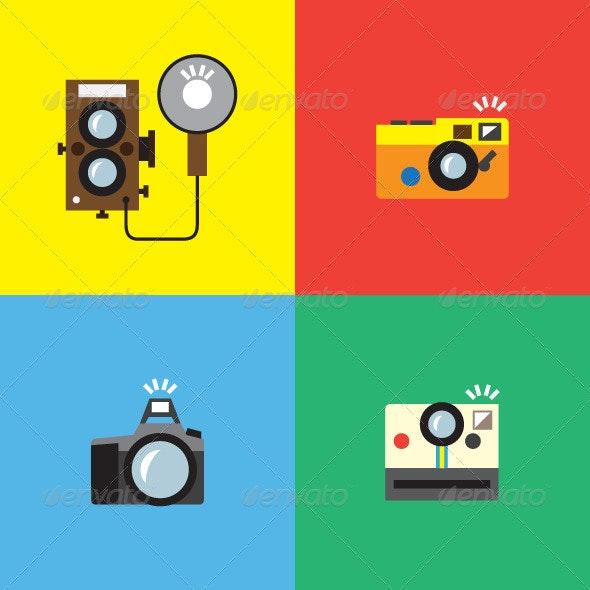 Classic Camera Icons - Technology Conceptual