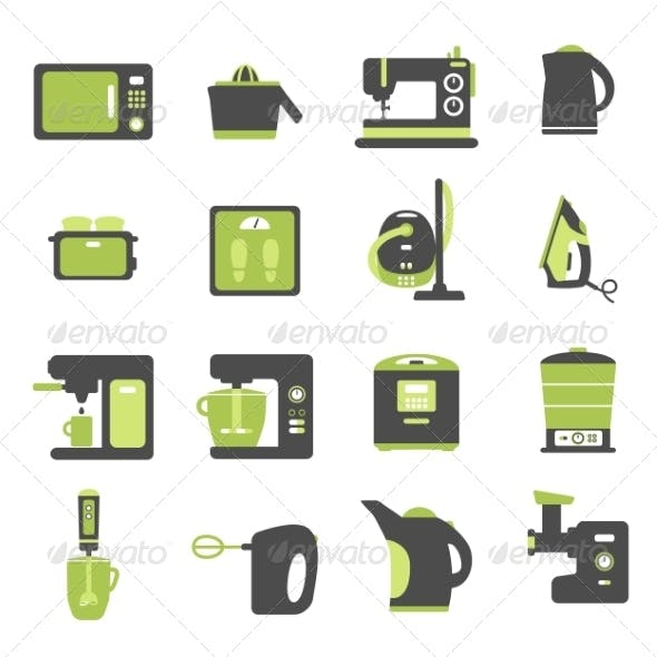 Icons with Kitchen Utensils