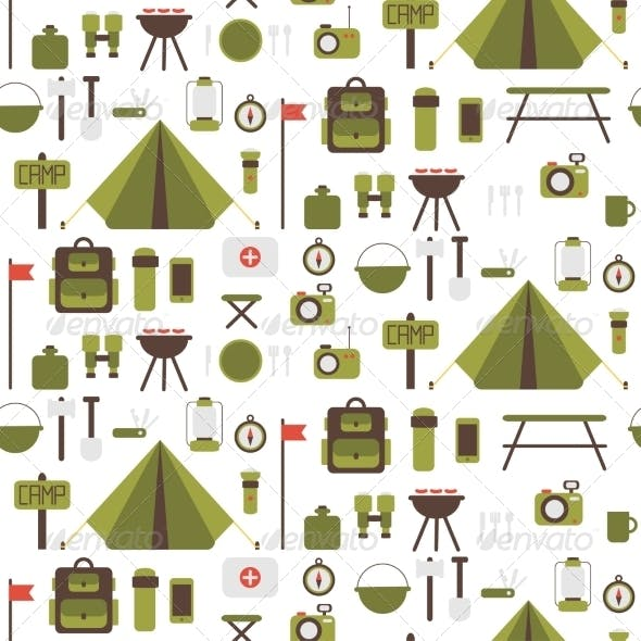Seamless Pattern of Flat Colorful Camping Icons