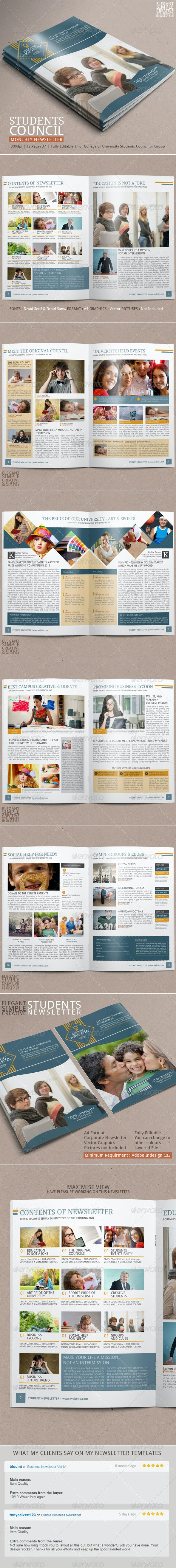 Student Newsletter Template Vol.2 - Newsletters Print Templates