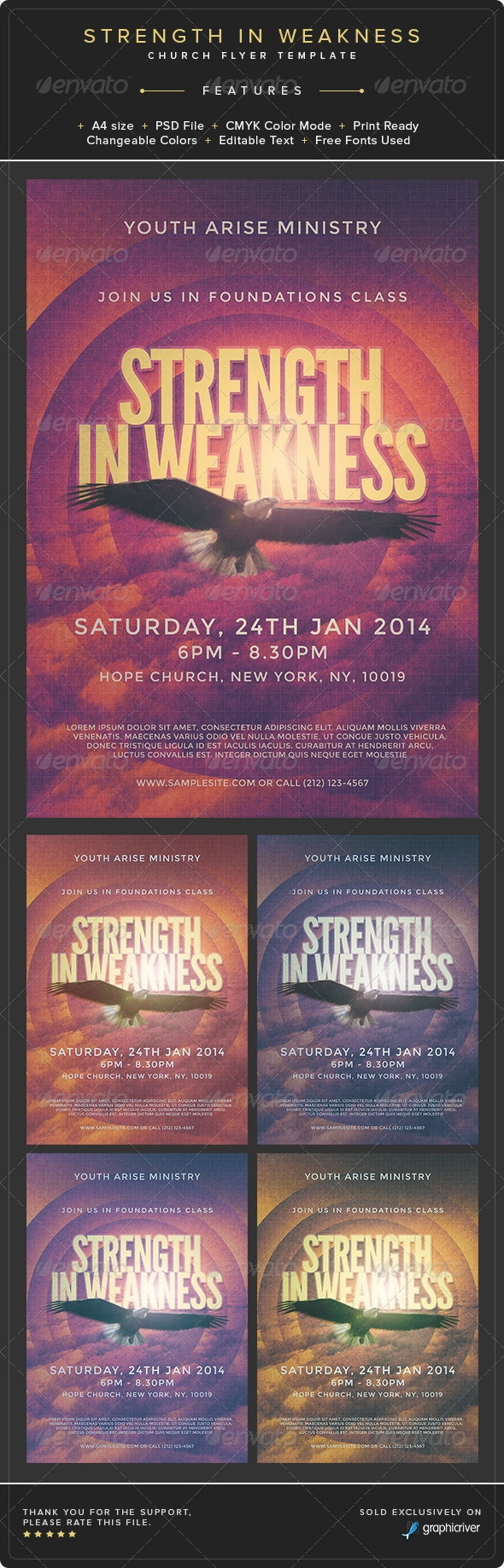 Strength in Weakness Church Flyer Template - Church Flyers