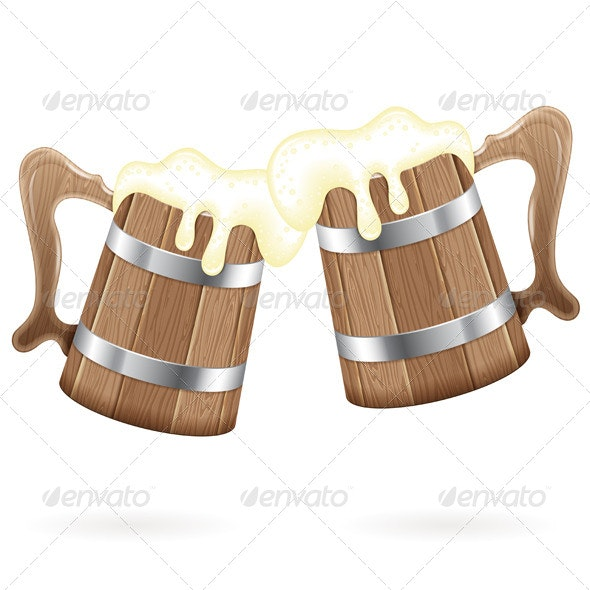 Two Wooden Mugs with Beer - Food Objects
