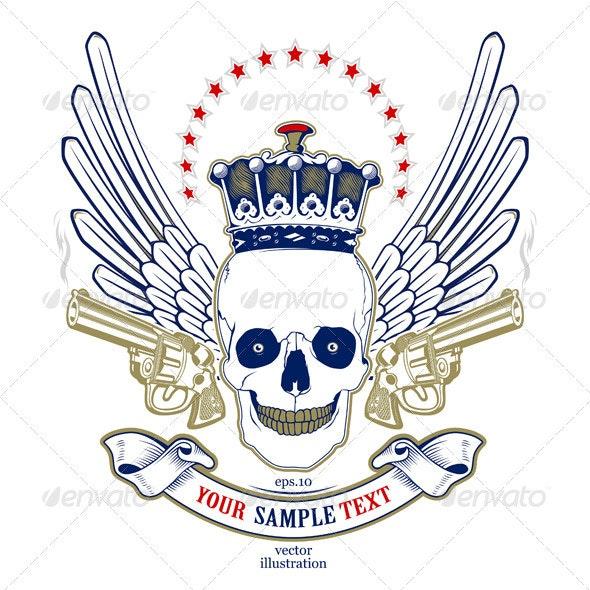 Skull Wing Emblem - Decorative Symbols Decorative