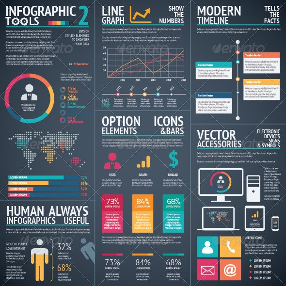 Infographic Vector Tools 2 Black Background
