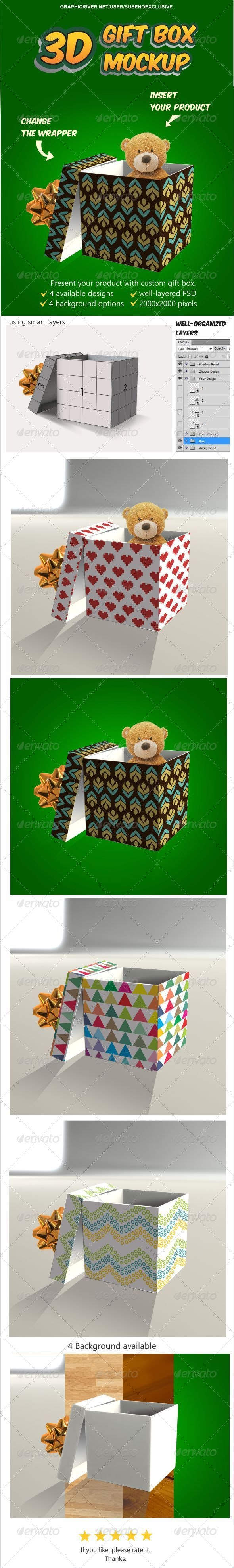 3D Gift Box Mockup - Miscellaneous Print