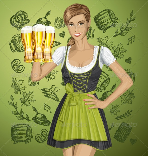 Vector Cute Woman In Drindl On Oktoberfest - People Characters