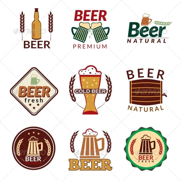 Beer Colored Emblems - Food Objects