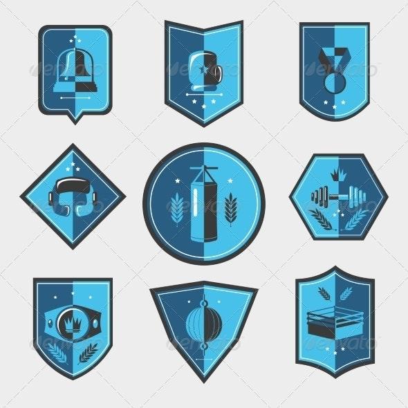 Boxing Emblems Set - Web Elements Vectors