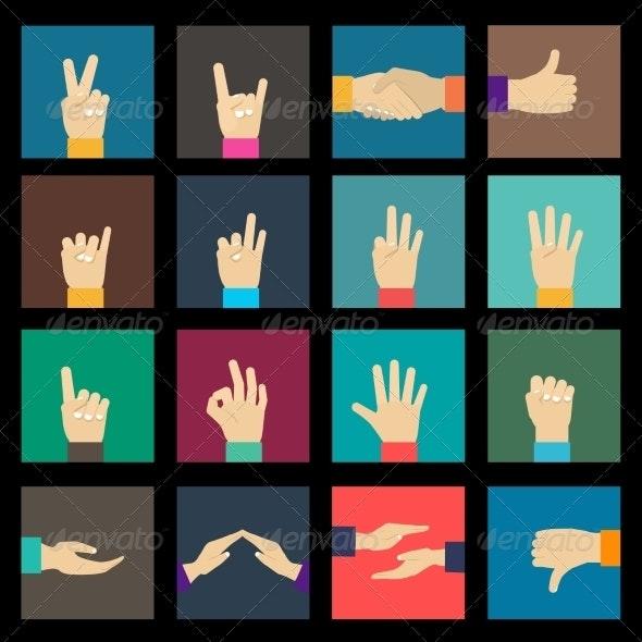 Hands Icons Set - Web Elements Vectors