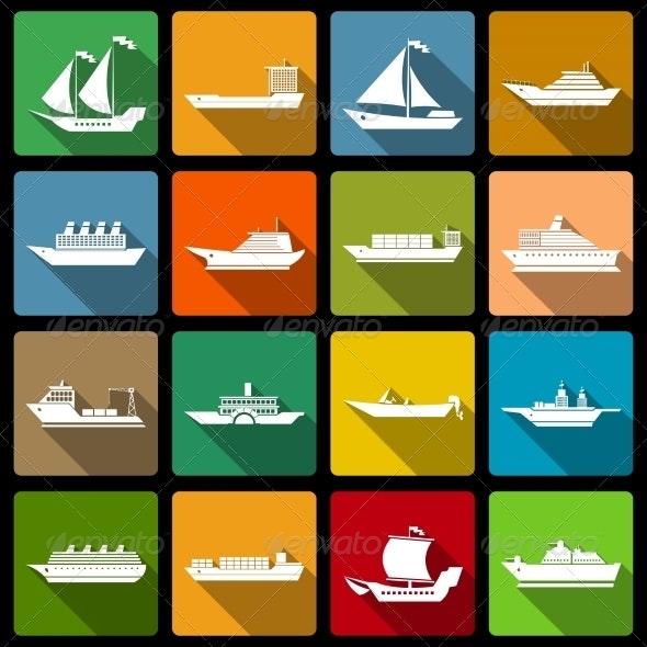 Ship and Boats Icons Set Flat - Travel Conceptual